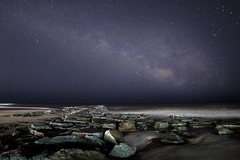 Milky Way In March, Ocean City, NJ (Douglas Heusser Photography) Tags: milky way milkyway stars star astro astronomy space gases cosmos earth ocean city planets nj new jersey beach sea jetty hussar photography rokinon 14mm wide angle long exposure photo image canon lens band rising