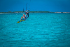 Andrew kite surfing just outside Georgetown in the Exumas.