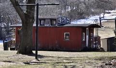Brockway, Pennsylvania (2 of 3) (Bob McGilvray Jr.) Tags: brockway pennsylvania caboose wood wooden cupola grounded red rot rotting bo baltimoreohio brp buffalorochesterpittsburgh yard private railroad train tracks