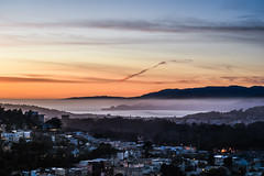 marine layer through the valley (pbo31) Tags: sanfrancisco california nikon d810 night dark march 2018 spring boury pbo31 tankhill clarendonheights over view city urban silhouette sunset fog goldengatepark deyoung rooftops lighthouse orange sky pacific