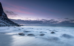 Twilight zone (Mika Laitinen) Tags: canon5dmarkiv europe horizon lofoten norway norwegiansea scandinavia uttakleiv beach cloud cold colorful dreamscape landscape longexposure mountain nature ocean outdoors purple rock sea seascape shore sky sunset twilight water wave winter nordland no