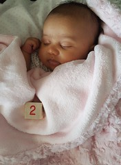 2 Months Old (McKenzie's Photography) Tags: infant baby girl female young newborn one month two three grandchild daughter family love block sleep rest sit chair bumbo black white pink indoor inside new life