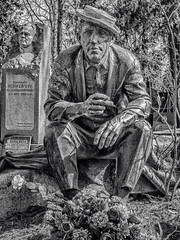 Funny to the end (headstone in Novodevichy cemetery) (Andy J Newman) Tags: om10 hdrefex olympus silverefex russia nikulin novodevichy yuri moscow monochrome hdr 2018 blackandwhite cemetery april moskva ru