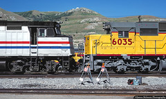Nose to Nose (jamesbelmont) Tags: amtrak unionpacific f40ph sd60 northyard utah railroad railway emd