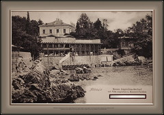6345 MuzCroOpatTourisCzech The Croatian Museum of Tourism Opatija Croatia Opatija Czech tourists Kupalište Angiolina The Angiolina sea bath designed by Franz Wilhelm was the first public sea bath in Opatija. The one-story bathhouse was expanded 1889. (Morton1905) Tags: 6345 muzcroopattourisczech the croatian museum tourism opatija croatia czech tourists kupalište angiolina sea bath designed by franz wilhelm was first public onestory bathhouse expanded 1889