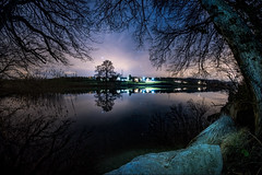 Stars and Trees (ramvogel) Tags: samyang 8mm sony a6300 horgen water bergweiher stars night tree sky light stones fisheye reflection