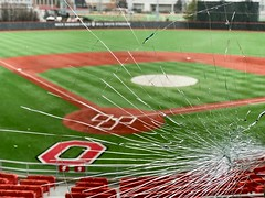 foul ball (brown_theo) Tags: ohio columbus osu billdavisstadium ohiostate buckeye buckeyes game baseball glass shattered
