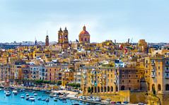 Malta Colors (Daveyal_photostream) Tags: malta architecture buildings building colorful colors dome church water waterscape city cityscape mediterranean d600 nikon nikor meandmygear mygearandme mycamerabag motion movement flag flags beautiful beauty road tower boats cars sky bluesky sunlight sunlit doors wionmdows laundry arches balcony trees saturated yellow pano