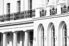 1830 Georgian Seaside Terrace (fstop186) Tags: georgian architecture terrace curved listed gradeii houses iron railings balcony bw blackandwhite windows glass alverstoke gosport thecrescent week11architecture