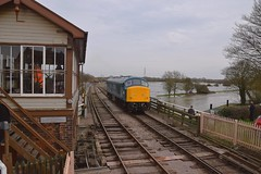 Peak Locomotive 45041 on a positioning move at Wansford, heading towards the station to take the 13.30 service to Peterborough(NVR). Nene Valley Railway 06 04 2018 (pnb511) Tags: nenevalleyrailway heritage trains preserved wansford loco locomotive workshop train railway engine engines diesel water river flood swollen watermeadows class45
