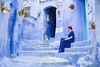 Everybody wants to be a cat (elsvo) Tags: blue cat color colour indigo selfportrait self me morocco chefchaouen travel stairs