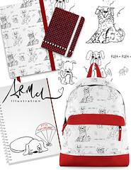 flea_sample_pageTH (angeliamcleandesign) Tags: pet dog flea scratch humor surfacepattern backtoschool backpack notebook pattern boys sketch red stationery fleas pests art