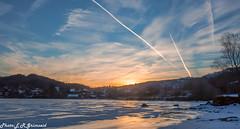 Sunrise , Stendavatnet (2000stargazer) Tags: stendavatnet fana bergen norway sunrise lake landscape reflections nature heaven canon winter snow ice contrails