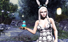 "Look#395 - ""Happy Bunny-Hatching Holiday!"" (A Lone) Tags: secondlifesecondlifeslvirtualdarklightshadowartfirestormgimpphotographywindlightphotosim3d female woman feminine girl human avatar people beauty model charm lovely attractive fashion lone blonde nature landscape scenery romance serene angelofpain easter bunny easterbunny egg hatching season holiday seasonal"