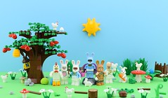Happy Easter🐰 (Alex THELEGOFAN) Tags: lego legography minifigure minifigures minifig minifigurine minifigs minifigurines movie batman the joker thejoker march harriet easter egg eggs bunny rabbit goon chicken suit outfit blue nature green tree egghead polka dot man chocolate white nesquik