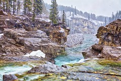 Elbow Falls Spring snow (John Andersen (JPAndersen images)) Tags: alberta arch beaver canada clouds dam day golden kananaskis lake mountains reflections sky