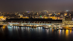 Amsterdam Centraal Station from Adam Lookout Tower at Night (OnTheRoadAgainBlog) Tags: amsterdam centraalstation lookout adam netherlands holland canon 700d 250mm zoom tele