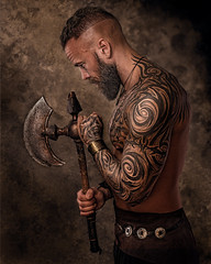 Meditation (Tortured Mind) Tags: bts fitness nikkor retouching d800 gothicart portrait digitalart mood homestudio man viking tattoos bearded suomi finland nikon lighting godox 54 2470mmf28 dslr dark zoom axe studio kuopio