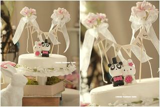 Handmade rabbit,bunny and panda with flower cake banner wedding cake topper, cute animals wedding cake decoration ideas