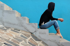 Bo-kaap, Cape Town. (Andrew M Gilmore) Tags: colours color bokaap capetown southafrica gardenroute girl woman steps stairs portrait blue street wall travel travelphotography android googlepixelxl phone