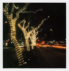 South Lake Nights (tobysx70) Tags: polaroid originals color sx70 instant film sx70sonar sonar south lake nights avenue pasadena california ca night nocturnal lighttrails red traffic fairy lights trees vanishing point toby hancock photography