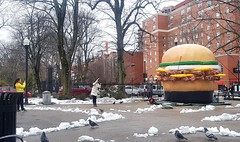 Photographing the Photographer, Burger Week Edition (Fred:) Tags: halifax burger week inflatable hfxburgerweek hfxburgerweek2018 hamburger burgers gonflable balloon ballon parc victoriapark victoria park novascotia restaurant food event hamburgers burgerweek photographing photographer taking picture funny photo eating pose posing gesture photographers people watching