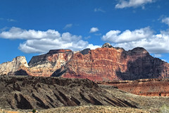 Contrasting Mountains Approaching Zion NP-Hwy 9-Springdale Utah 6312 (Emory Minnick) Tags: hwy9springdaleutah mountainsapproachingzionnp utah zionnp