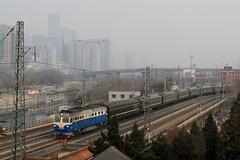 I_B_IMG_8810 (florian_grupp) Tags: asia china locomotive train railway railroad passenger diesel electric beijing station citywall beijingmainstation chaoyang peking cnr chinanationalrailway traffic bluesky