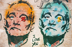 Pop Art Murray (Sabrina-Romano) Tags: bill murray pop art street graffiti writing do pieces spray paint stencil wall painting tagging actor love you minty colour cyan red close up 35mm lens nikond90 brighton uk
