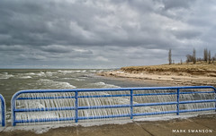 Spring along the lakeshore (mswan777) Tags: shore coast seascape ice icicle water wave nature outdoor scenic pier beach dune grass sand sky cloud wind weather nikon d5100 nikkor 1855mm