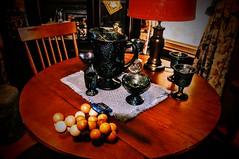 Cleaning Available (Bets<3 Fine Artist ~Picturing Light ~ Blessings ~~) Tags: maine diningroom table chairs pitcher glasses candles toycar puzzle window lightandshadow perspective hutch wood lamp curtains cleaned dusted polished