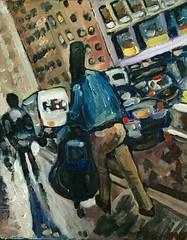 Contrabass on Lex (The Big Jiggety) Tags: art arte kunst finearts oil canvas huile toile oleo lienzo manhattan newyork nyc contrabass doublebass contrebasse street atmosphere lexington avenue midtown sidewalk trottoir slant diagonal