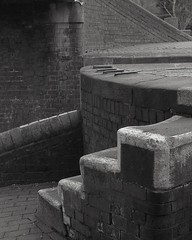 lock (OhDark30) Tags: carl zeiss jena czj werra 3 tessar 2850 35mm film monochrome bw blackandwhite bwfp fomapan 200 rodinal lock brickwork bricks steps farmersbridge locks flight canal birminghamfazeley birmingham