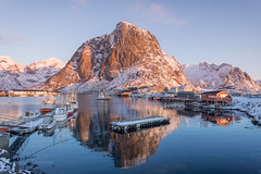 Harmony in Hamnøy, (Mika Laitinen) Tags: canon5dmarkiv europe hamnøy lofoten norway norwegiansea scandinavia boats daybreak landscape nature outdoors redcabin reflection rock sea serene shore sky sunrise water winter nordland no