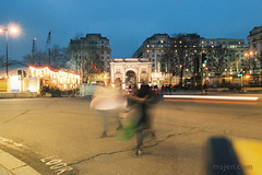 Crossing the Street (Ms. Jen) Tags: 2018 24mmlens cumberlandgate england kodakfilm london marblearch march2018 nikonais24mmf18manuallens nikonfm3a photobyjeniferhanen uk colorfilm crossingthestreet crosswalk film filmcamera filmphotography msjencom nightscape kodakportra kodakportra800 kodakportra800colorfilm filmisnotdead
