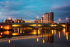 albert bridge belfast (teedee.) Tags: albert bridge belfast nightblue lagan river water cranes shipyard reflections