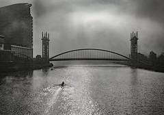 Millenium Bridge Media  City Salford. (tramsteer) Tags: tramsteer milleniumbridge mediacity salford manchester manchestershipcanal rowers boat oldtrafford