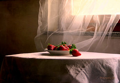 Still Life with Sweet Strawberries ... (MargoLuc) Tags: strawberries fruits red soft window light table backlight shadows stilllife glow texture skeletalmess white