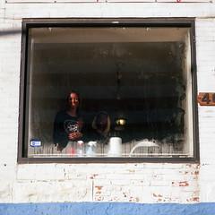(patrickjoust) Tags: mamiya c330 s sekor 80mm f28 kodak ektar 100 tlr twin lens reflex 120 6x6 medium format c41 color negative film manual focus analog mechanical patrick joust patrickjoust baltimore maryland md usa us united states north america estados unidos urban street city woman smile salon window charles village barclay