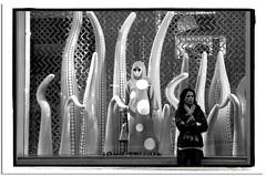 WEIRDO in the WINDOW (StockCarPete) Tags: bw window weirdo strange louisvuitton female women london uk polkadots tentacles bondstreet londonwest1 londonstreets