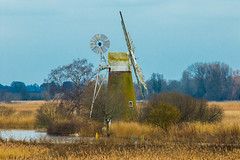 A 17 century water pump creating a lovely scene at Ludham reeds (Geordie_Snapper) Tags: 2470mm bactonholiday canon7d2 eastanglia howhill landscape ludham march norfolk overcast reedbeds riverant spring waterwindpump