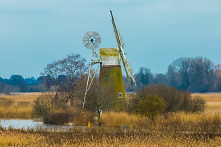 A 17 century water pump creating a lovely scene at Ludham reeds