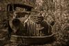 Forgotten Past (Scoutchuck) Tags: abandoned antique bw blackandwhite blueridgemountains bootlegger canon carter chevrolet circularpolarizer forgotten logger metal mountains nelsoncounty oldcarterphotos rust rustic rusty schuyler sepia timber truck vintage virginia woods tree