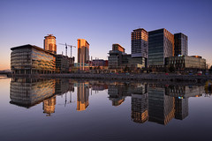 Floating City (Tracey Whitefoot) Tags: tracey whitefoot manchester salford quays media city bbc itv television reflection reflections architecture reflected sunrise dawn calm still 2018 april architectural
