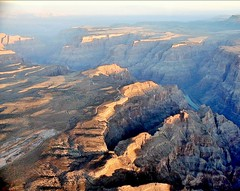 Outview from an airplane flying over the Gran Canyon