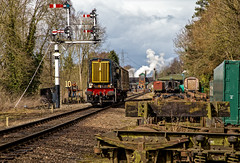 Carry on shunting (Peter Leigh50) Tags: great central railway gcr rothley brook semaphore signal locomotive diesel steam train station carriage trees railroad rail