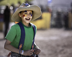 024693763285-97-Junior Rodeo Clown at the Clark County Fair and Rodeo-1 (Jim There's things half in shadow and in light) Tags: 2018 america april clarkcountyfairandrodeo mojave muttonbusting nevada rodeo southwest usa animal child desert kid sheep sports rodeoclown boy cowboy