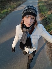 Another cold weekend (Sometimes Emma) Tags: tgirl transvestite tranny crossdresser hat hair makeup jacket scarf skirt leather tights leg warmers ankle boots fun fem happy outdoor