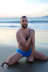 Davey (Levi Smith Photography) Tags: sunset beach underwear pose legs arms muscle chest lighting men mens fashion shirtless shorts bathing blue water sky tan man hairy bear san francisco reflection sand ocean dudoir suit