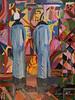 The Shop Window - Artist: Leon 47 ( Leon XLVII ) (leon 47) Tags: abstract painting metaphysical enigma metafisica metaphysics surrealism surrealismo art arte astratta minimalism minimalismo individualismo individualism individuality large bright shop window vetrina illuminata august macke